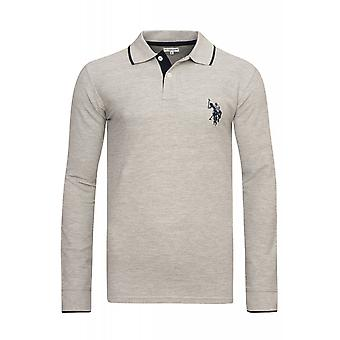 U.S. POLO ASSN. Shirt Sweatshirt mens Polo long sleeve shirt gray 51887 188