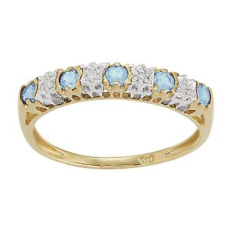 9ct Yellow Gold 0.27ct Blue Topaz & 2pt Diamond Half Eternity Band Ring
