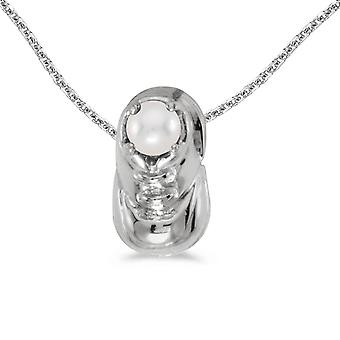 10k White Gold Freshwater Cultured Pearl Baby Bootie Pendant with 18