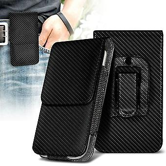 ONX3 (Carbon Black) Samsung Galaxy Xcover 4 Case Premium Vertical Faux Leather Belt Holster Pouch Cover