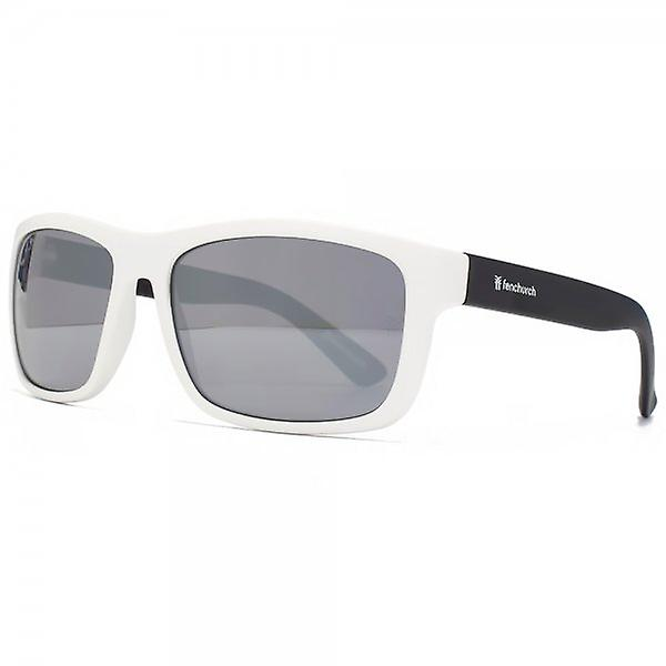 Fenchurch Square Wrap Sunglasses In Matte White With Black Temples