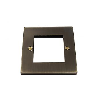Causeway 1 Gang Double Modular Plate, Antique Brass