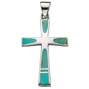 925 Silver Fashionable Turquoise Cross Necklace