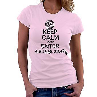 Keep Calm and Enter Dharma Initiative Lost Dark Women's T-Shirt