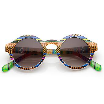 Vintage Inspired Round Circle Native Print Horned Rim Sunglasses