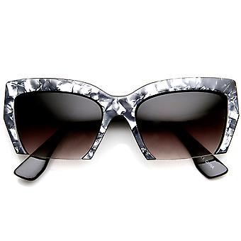 Womens Marbleized High Fashion halv Frame Cat Eye solglasögon