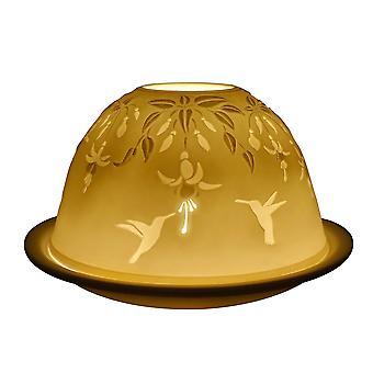 Light-Glow Dome Tealight Holder, Fuchsia and Hummingbird