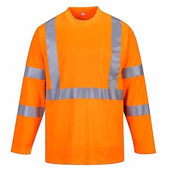 Portwest - Hi-Vis Sicherheit Langarm T-Shirt mit Tasche