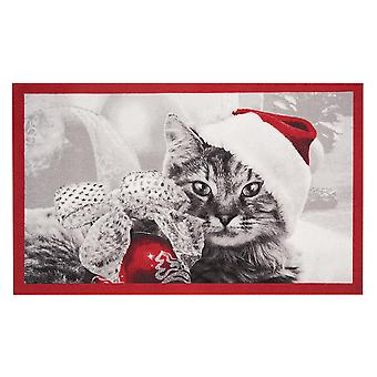 Doormat dirt trapping pad Christmas cat red grey 45 x 75 cm