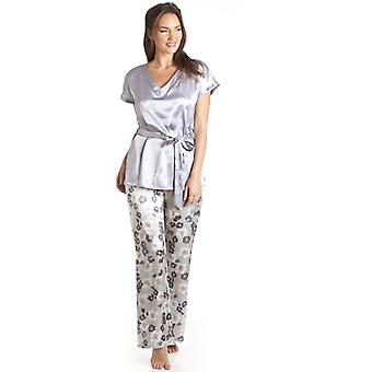 Camille Grey Floral Satin Pyjama Set