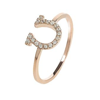 Latelita Lucky Charm Horseshoe Midi Ring Pink Rose Gold Sterling Silver CZ