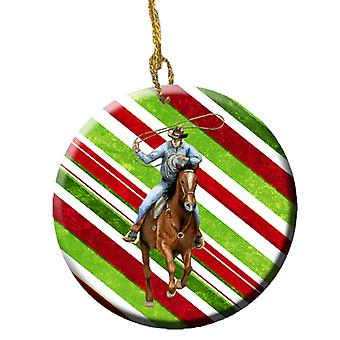 Horse Roper Candy Cane Holiday Christmas Ceramic Ornament