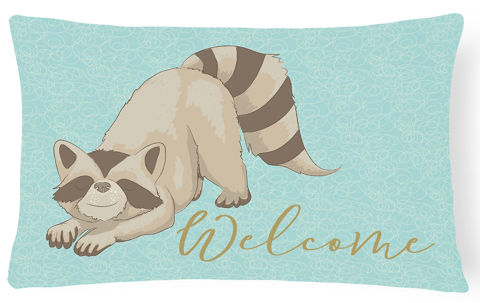 Welcome Decorative Raccoon Pillow Canvas Fabric iOkXuTZP
