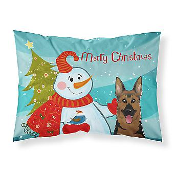 Snowman with German Shepherd Fabric Standard Pillowcase