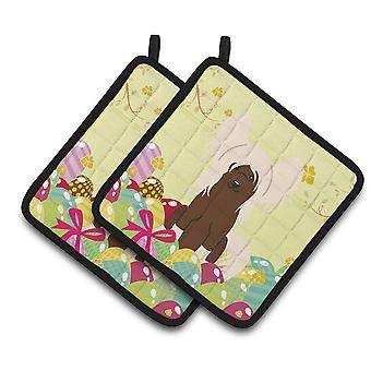 Easter Eggs Chinese Crested Cream Pair of Pot Holders