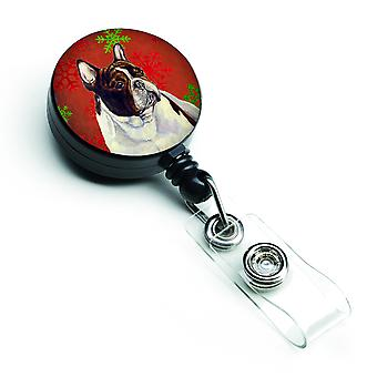 French Bulldog Red and Green Snowflakes Holiday Christmas Retractable Badge Reel