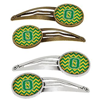 Letter O Chevron Green and Gold Set of 4 Barrettes Hair Clips