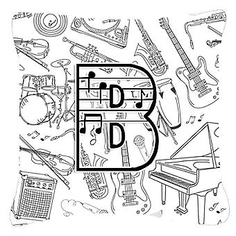 Letter B Musical Note Letters Canvas Fabric Decorative Pillow