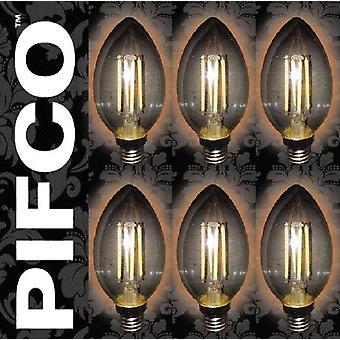 6 x PIFCO LED Vintage Retro Candle Globe GLS B22 B15 SES ES Light Bulbs