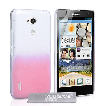 Huawei Ascend G740 regndroppe Hard Case - Baby Rosa-Clear