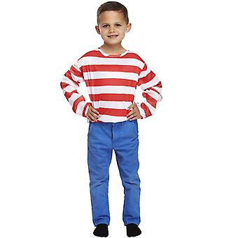Children's Fancy Dress Red & White Stripe Long Sleeve Top Medium Age 7-9