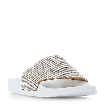 Dune Mesdames LAS VEGAS Diamante Slider sandale en Blush