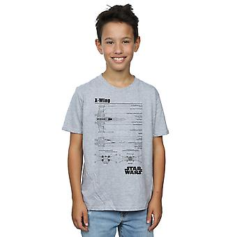 Star Wars Boys X-Wing Blueprint T-Shirt