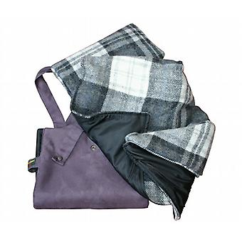 Grey Check and Charcoal Ascot Wool / Waterproof Picnic Rug