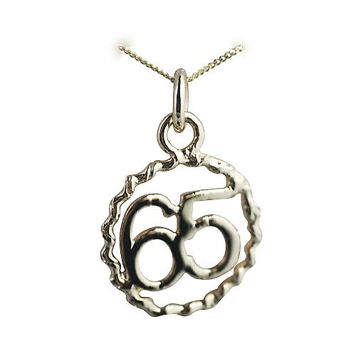 9ct Gold 18mm number 65 in twisted wire circle Pendant with a curb Chain 18 inches