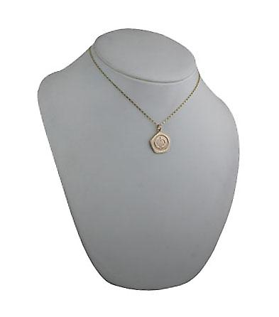9ct Gold 21mm five sided Pisces Zodiac Pendant with a belcher Chain 16 inches Only Suitable for Children