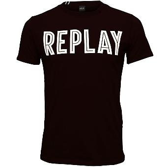 Replay djärva Logo T-Shirt, marinblå