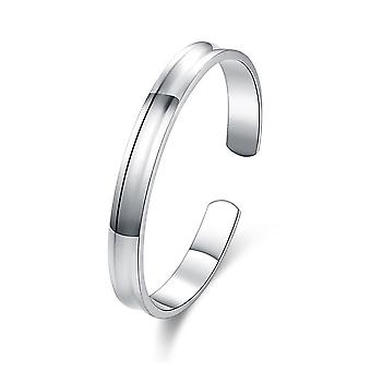 Womens Ladies Silver Plated Bangle Plain Round Flat Bracelets