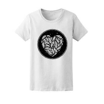 Feather Heart Round Graphic Tee Women's -Image by Shutterstock
