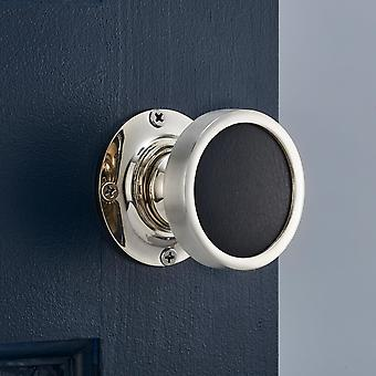 Luxury Internal Mortice Door Knobs with Black Leather Insert