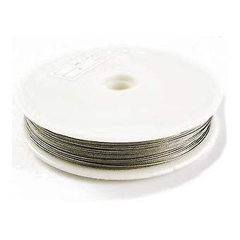 1 x Silver Nylon-Coated Steel 0.45mm x 50m Round Tiger Tail Spool HA06750