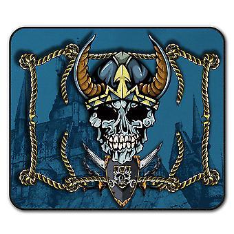 Викинг пиратский металл черепа не нескользкие мыши коврик коврик 24 см х 20 см   Wellcoda