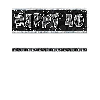 Bannière anniversaire Glitz noir & Silver 40e anniversaire prisme
