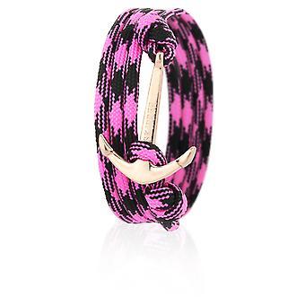 Skipper anchor bracelet wristband in pink/black nylon with Golden anchor 6656