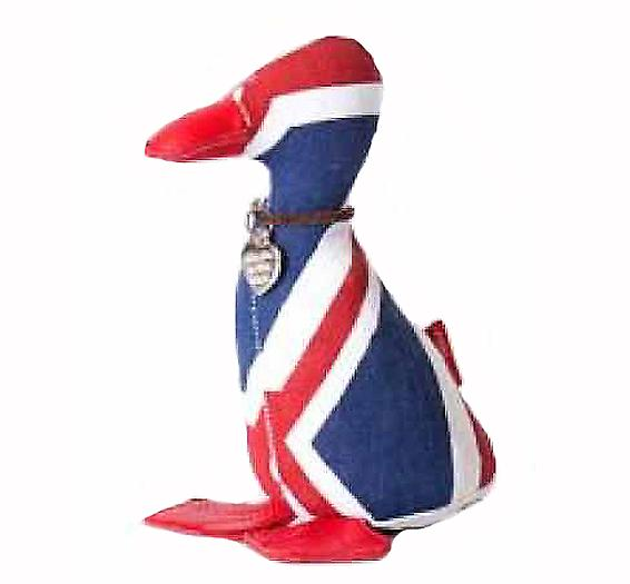 Union Jack Duckling Paperweight by Monica Richards