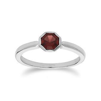 Gemondo Sterling Silver Garnet January Single Stone Octagon Ring