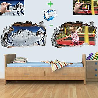 Vinyl Wall Smashed 3D Art Stickers of Illustrated CUSTOM Poster Bedroom Child Boys Girls