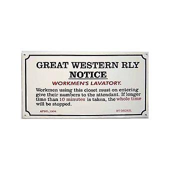 GWR Arbeiter Toilette emaillierten Stahl Zeichen