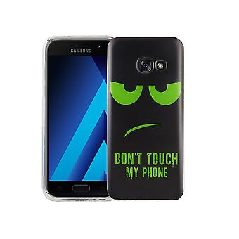 Caso móvil para adorno de bolsa protectora caso Samsung Galaxy A3 2017 cubierta slim TPU + cristal de protección 9 H de la armadura no toques mi teléfono Grün