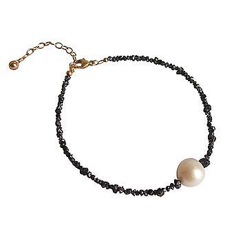 Diamantarmband mit Perle Diamanten und Zuchtperlen Armband schwarz vergoldet