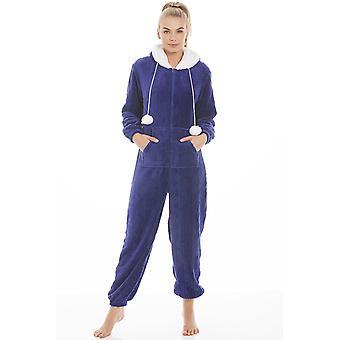 Camille Blue Luxury Super Soft Fleece Hooded Onesie