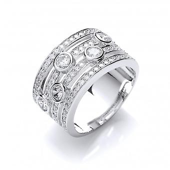 Cavendish French 'My Favourite' Silver and Cubic Zirconia Band Ring