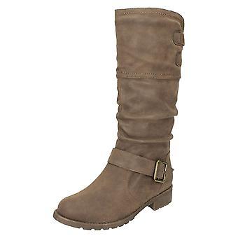 Ladies Spot On Calf High Boots F50321