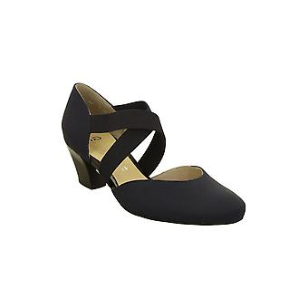 Ara Heeled Court Shoe With Cross Over Elastic Support - 33439
