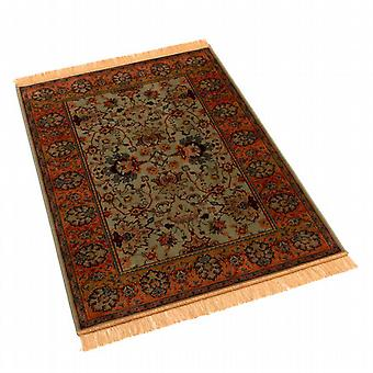 Traditional Indian Agra Green Artificial Silk Rug 4620/16 140 x 200cm