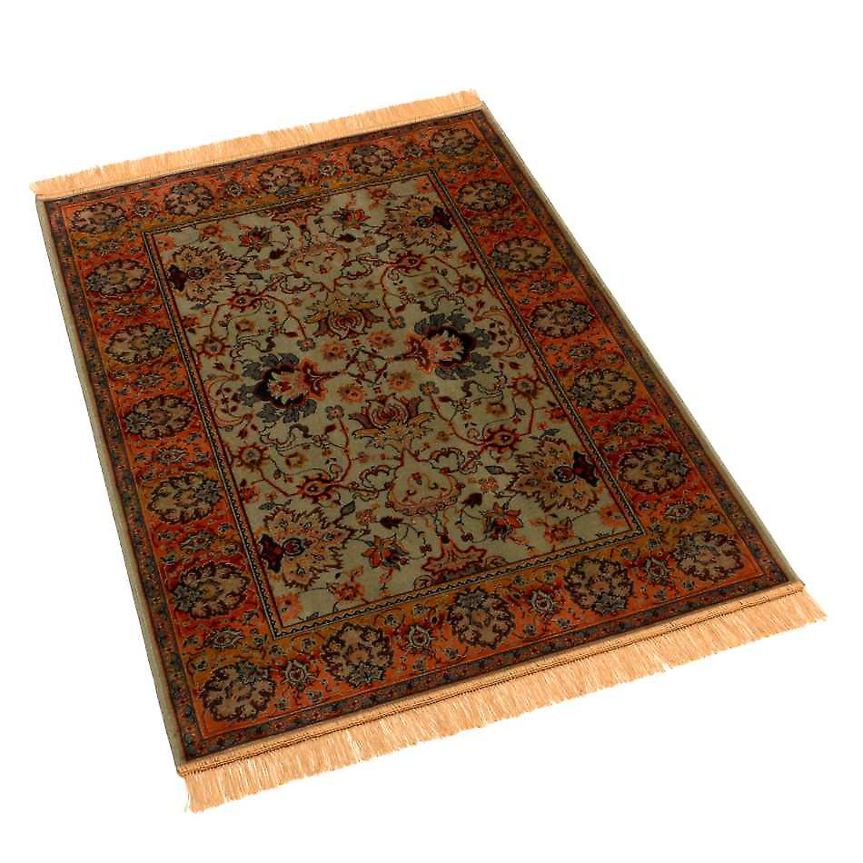 Traditional Indian Agra Green Artificial Faux Silk Effect Rugs 4620/16 140 x 200cm